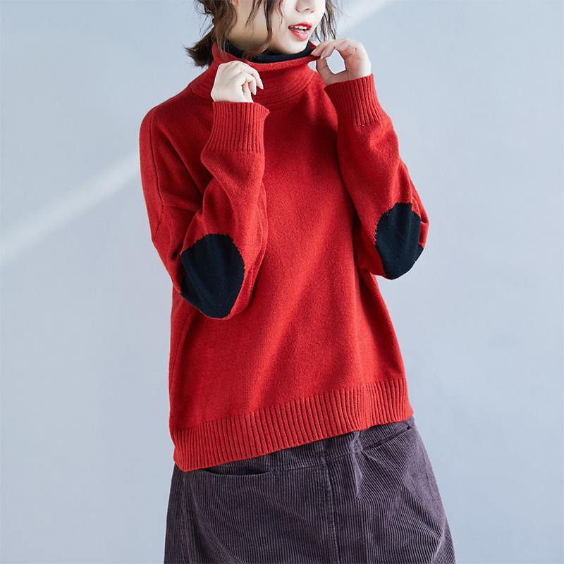 Aesthetic red knitted pullover casual high neck knitwear