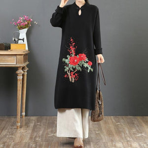 Aesthetic stand collar Sweater embroidery weather Largo black Tejidos sweater dresses