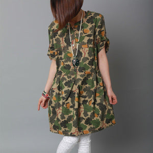Amy green print summer dress cotton tunic oversize sundress