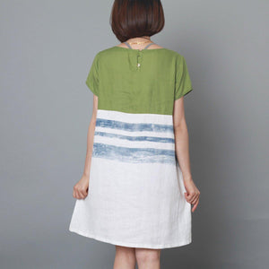 Apple green cotton summer shift dress oversize sundress baggy shirt dress-Will be available soon
