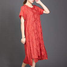 Load image into Gallery viewer, Applique Floral High Low Hem Casual Dress