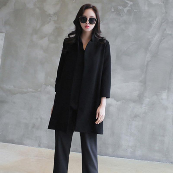 Art Notched Fashion fall clothes For Women black Knee coats