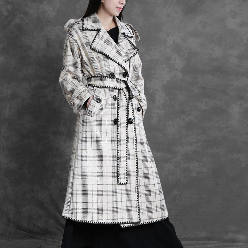 Art Notched back side open top quality trench coat white plaid Art outwears