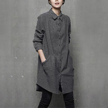 Load image into Gallery viewer, Art POLO collar cotton fall tunic pattern Outfits gray shirt