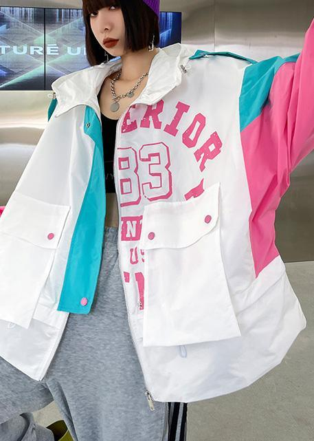 Art White Letter Patchwork Cotton Spring Hooded Coat
