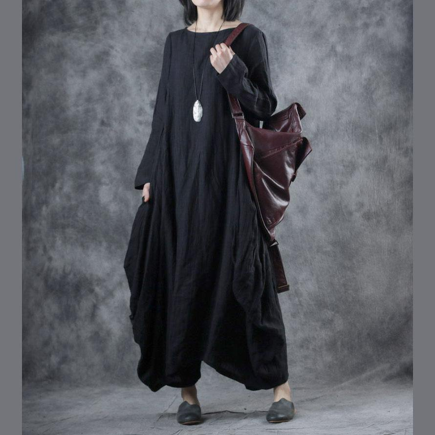Art black linen wrinkled Robes o neck asymmetric Maxi fall Dress