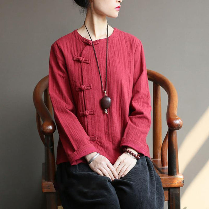 Art cotton Tunic top quality Women Chinese Style Cotton burgundy Frog Spring Coat Shirt