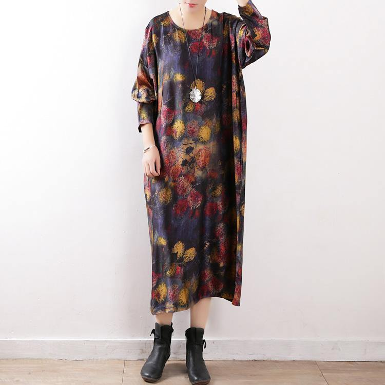 Art cotton blended dresses stylish O neck baggy dress Fabrics floral Dresses
