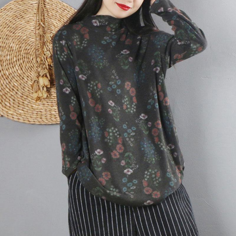 Art high neck cotton fall tunic top Wardrobes black print blouse
