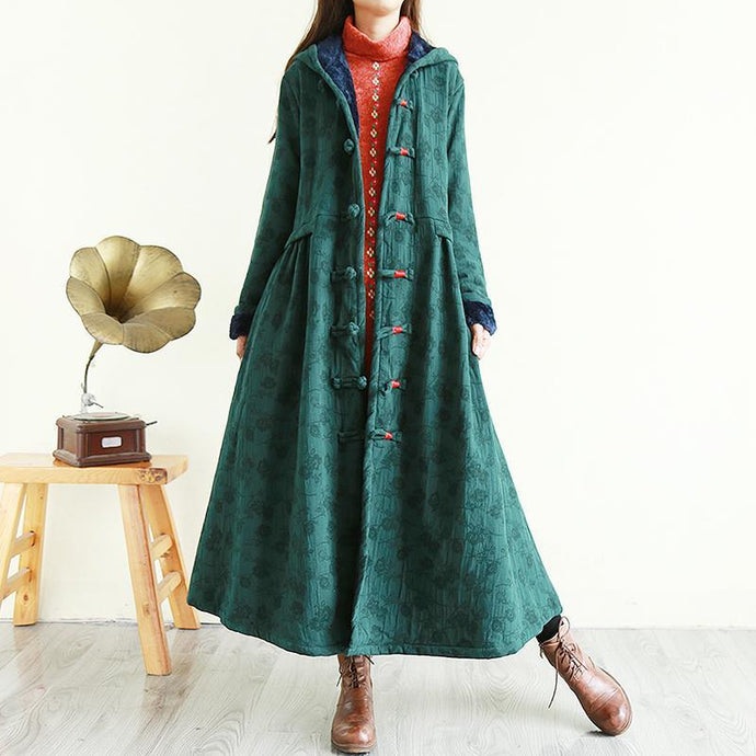 Art hooded top quality winter thick tunic pattern green Plus Size Clothing outwear