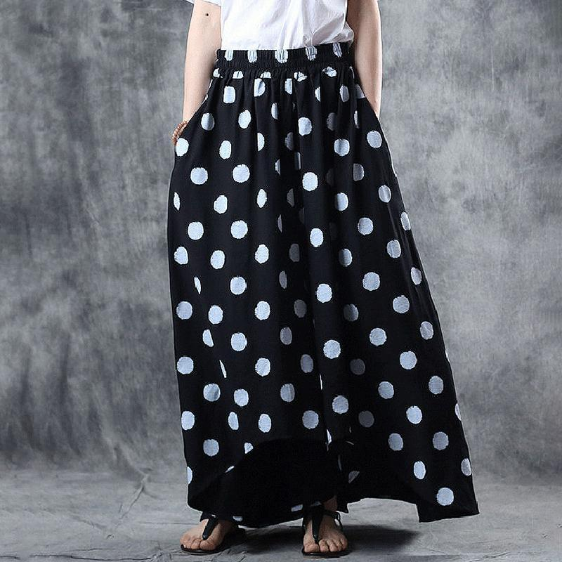 Art linen for women Boho Ramie Loose Asymmetrical Wide Leg Pants