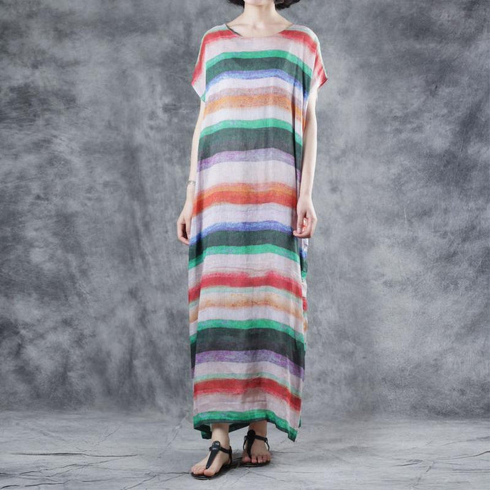 Art multicolor striped linen clothes For Women o neck short sleeve loose summer Dresses