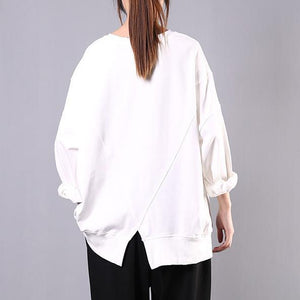 Art o neck cotton clothes For Women Shirts white print blouses
