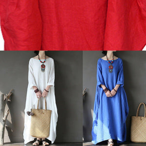 Art o neck linen asymmetric Long Shirts Fabrics blue Dress