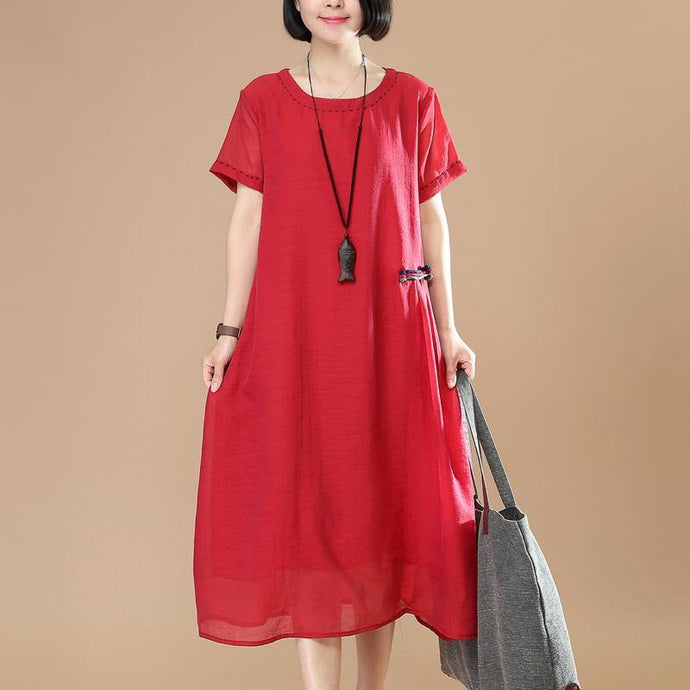 Art o neck linen dresses Inspiration red layered Dresses summer