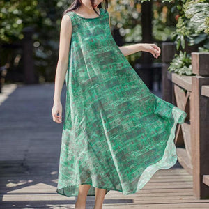 Art o neck sleeveless linen clothes Fashion Ideas green print Dress summer