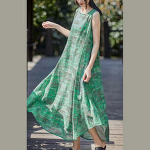 Laden Sie das Bild in den Galerie-Viewer, Art o neck sleeveless linen clothes Fashion Ideas green print Dress summer