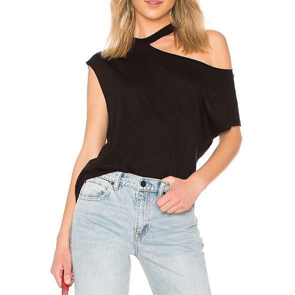 Art off the shoulder cotton blouses for women Photography black o neck shirt summer