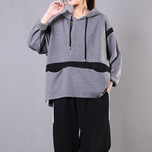 Load image into Gallery viewer, Art patchwork hooded cotton Shirts Shape gray blouses