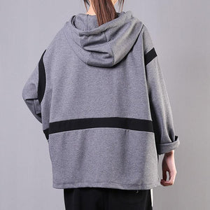 Art patchwork hooded cotton Shirts Shape gray blouses