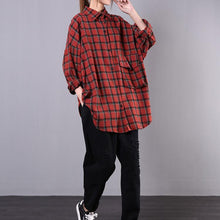 Load image into Gallery viewer, Art red plaid cotton clothes lapel pockets oversized shirts