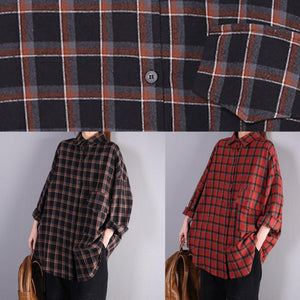 Art red plaid cotton clothes lapel pockets oversized shirts