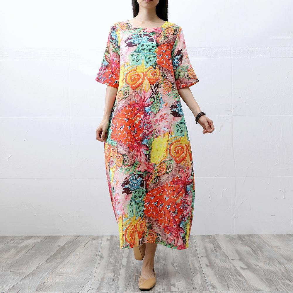 Art short sleeve linen dresses Runway floral Dress summer