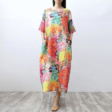 Laden Sie das Bild in den Galerie-Viewer, Art short sleeve linen dresses Runway floral Dress summer