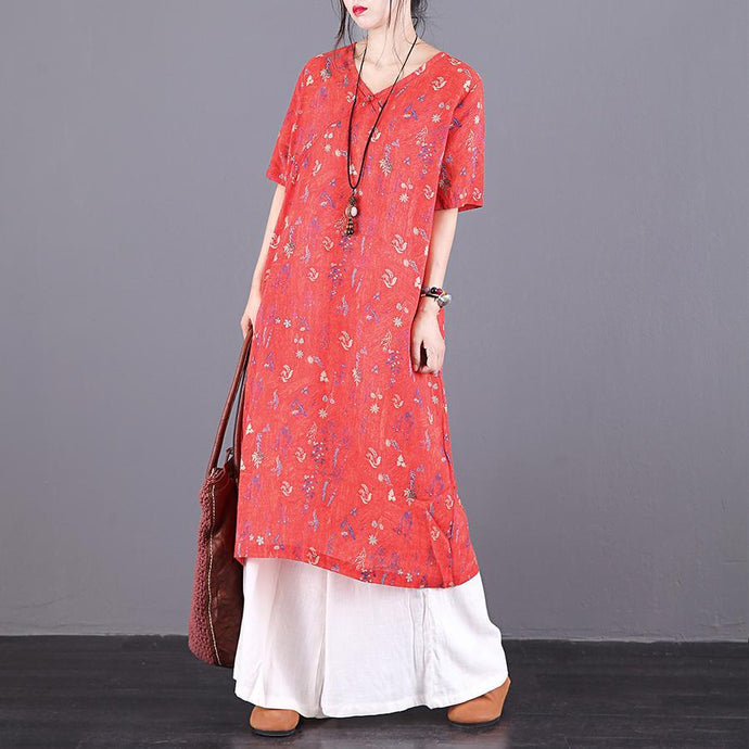 Art v neck pockets linen Long dress Fabrics orange print Dresses summer
