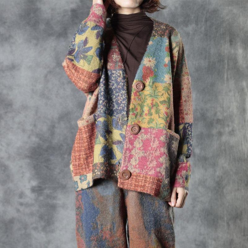 Spring Colorful Flower Knit Sweater Coat