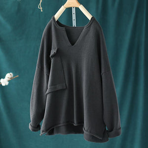 Spring Big Pocket V-neck Sweater Top Women