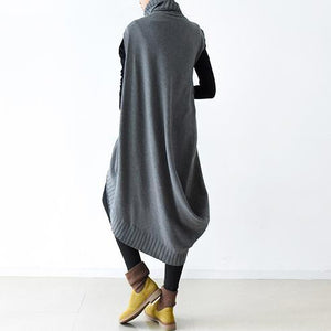 Autumn original design gray thick woolen dresses plus size casual knit sweaters dresses two pieces
