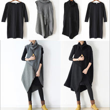 Load image into Gallery viewer, Autumn original design gray thick woolen dresses plus size casual knit sweaters dresses two pieces