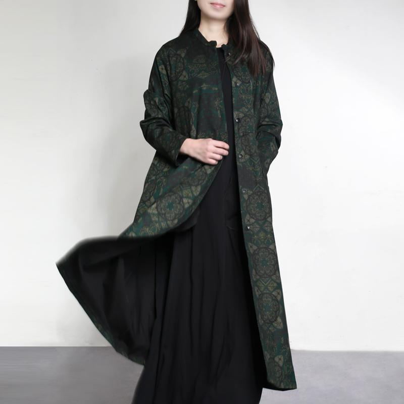Autumn winter 2017 green prints cotton outwear draping elegant casual long trench coats