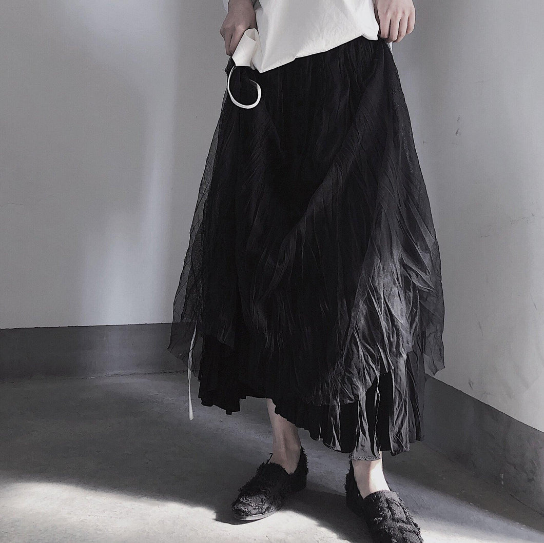 BLACK PLEATED Double Layer Design With Elastic Waist Skirt On Both Sides