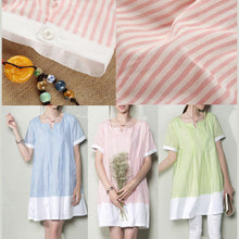 Load image into Gallery viewer, Baby blue plus size sundress natural linen clothing oversize summer shirt dresses