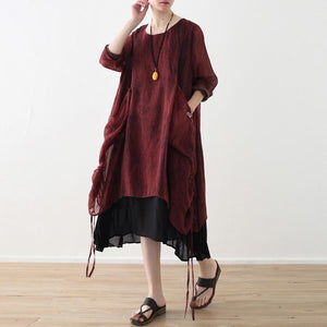 Beach red chiffon Robes Metropolitan Museum Life false two pieces Robe Dresses