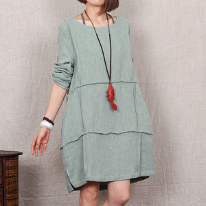 Bean-green linen dress plus size linen sundress maternity dress