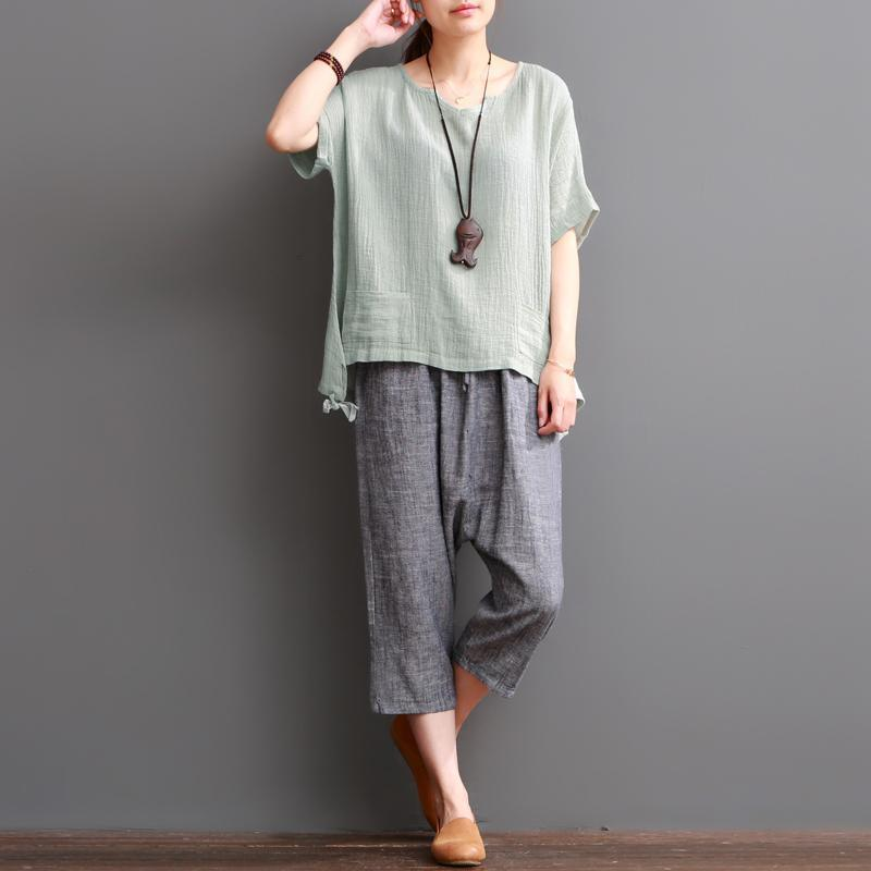 Bean green linen blouse women short top cotton