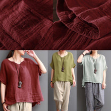 Load image into Gallery viewer, Bean green linen blouse women short top cotton