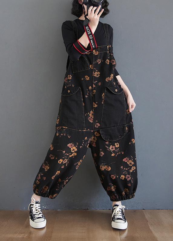 Beautiful Black Print High Waist Unique Spring Jumpsuit Pants ( Limited Stock)