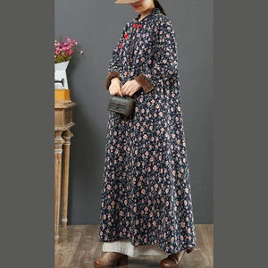 Beautiful Chinese Button cotton stand collar quilting clothes Shape blue floral Dress