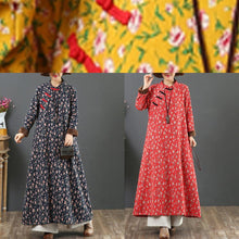 Load image into Gallery viewer, Beautiful Chinese Button cotton stand collar quilting clothes Shape blue floral Dress