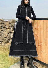 Load image into Gallery viewer, Beautiful Denim Black Tunics O Neck Patchwork Maxi Spring Dress