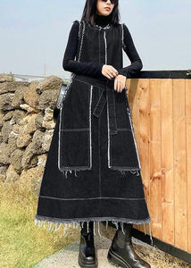 Beautiful Denim Black Tunics O Neck Patchwork Maxi Spring Dress