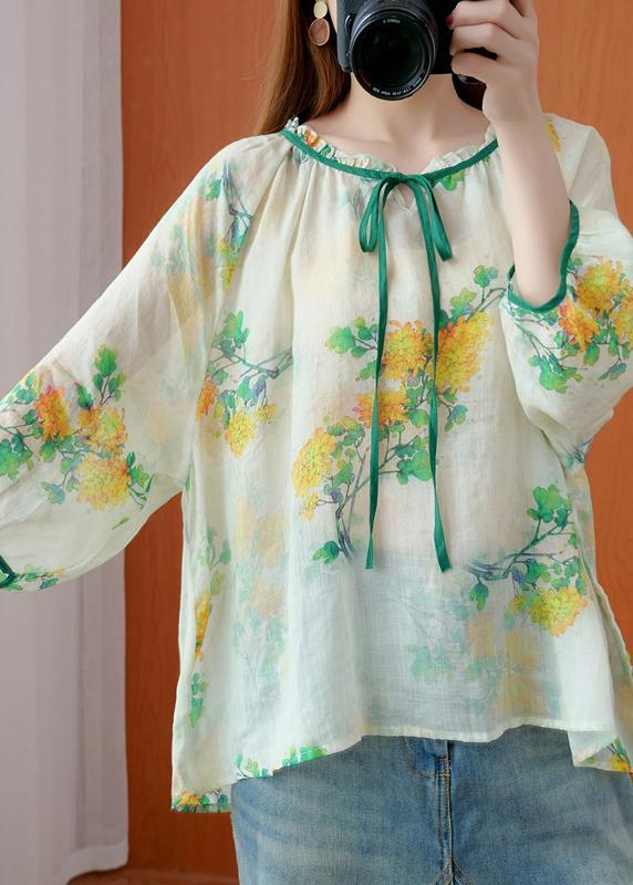 Beautiful Green Print Clothes Ruffled Asymmetric Plus Size Clothing Top