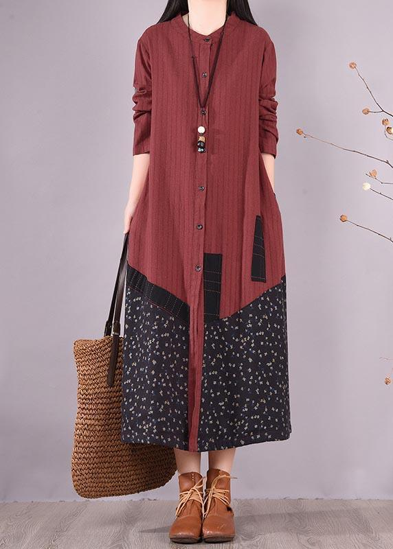 Beautiful Red Patchwork Print Dress O Neck Pockets Traveling Spring Dresses