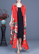 Load image into Gallery viewer, Beautiful Red Print Summer Cardigan Long