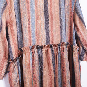 Beautiful Robes top quality O neck Tutorials yellow striped Dress Summer
