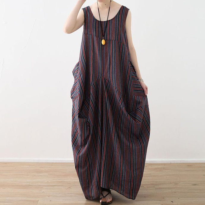 Beautiful asymmetric cotton tunics for women 18th Century Inspiration red blue striped long Dresses